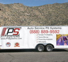 PitSystems.com 888-889-9592 Auto  Service Pit Mobile Showroom Trailer Side View