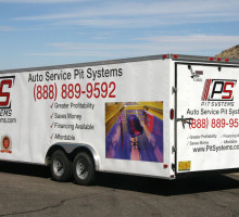 PitSystems.com Auto Service Pit Mobile Showroom Trailer Rear View